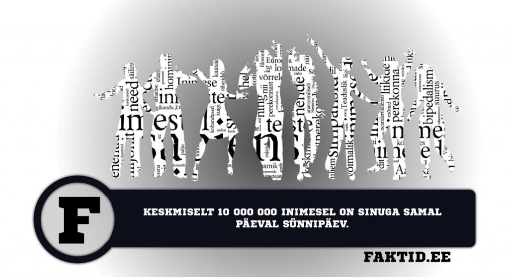 KESKMISELT 10 000 000 INIMESEL ON SINUGA SAMAL PÄEVAL SÜNNIPÄEV. inimene 94 1024x558