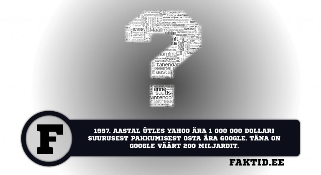 1997. AASTAL ÜTLES YAHOO ÄRA 1 000 000 DOLLARI SUURUSEST PAKKUMISEST OSTA ÄRA GOOGLE. TÄNA ON GOOGLE VÄÄRT 200 MILJARDIT. varia 50 1024x558