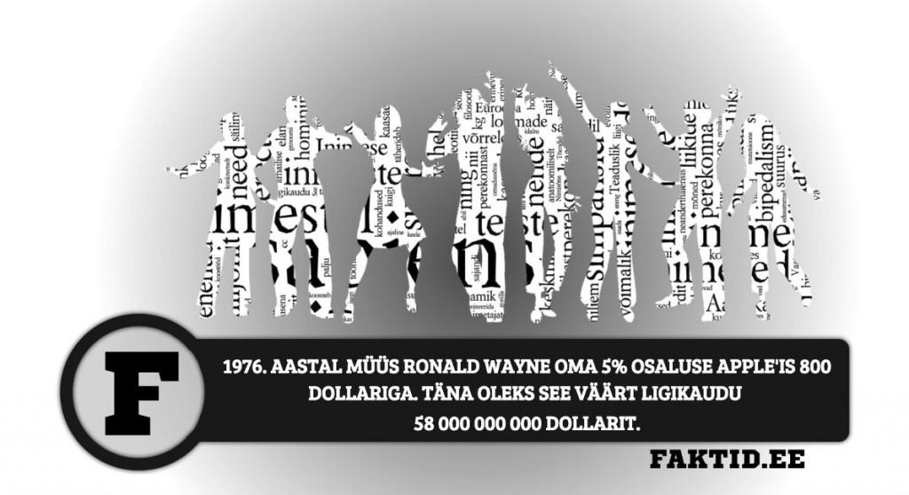 1976. AASTAL MÜÜS RONALD WAYNE OMA 5% OSALUSE APPLEIS 800 DOLLARIGA. TÄNA OLEKS SEE VÄÄRT LIGIKAUDU 58 000 000 000 DOLLARIT. inimene 160 1024x558