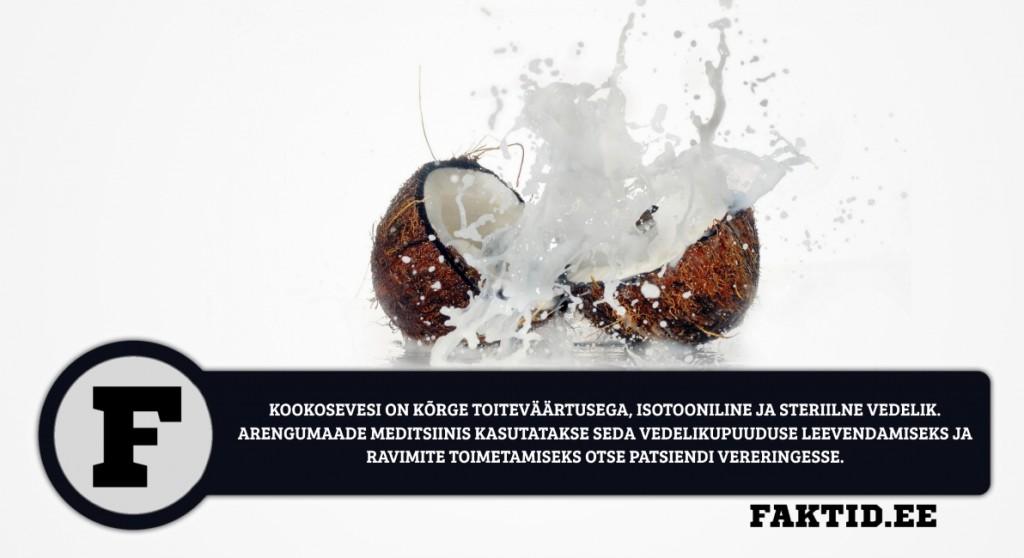 KOOKOSEVESI ON KÕRGE TOITEVÄÄRTUSEGA, ISOTOONILINE JA STERIILNE VEDELIK.